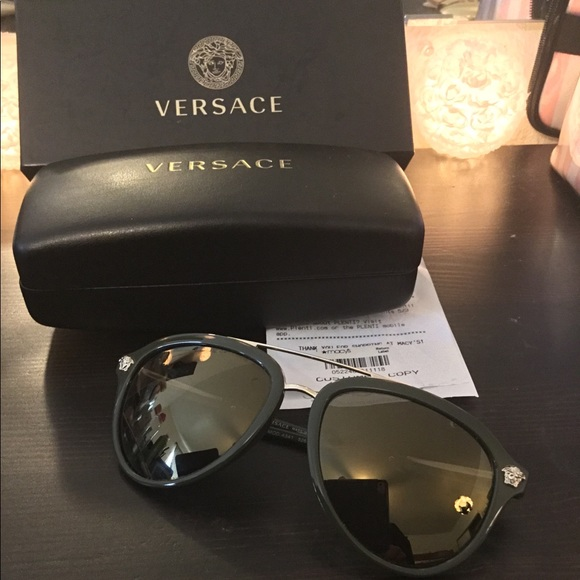 830e9c835883 Versace Sunglasses VE4341 Olive Green Gold frame